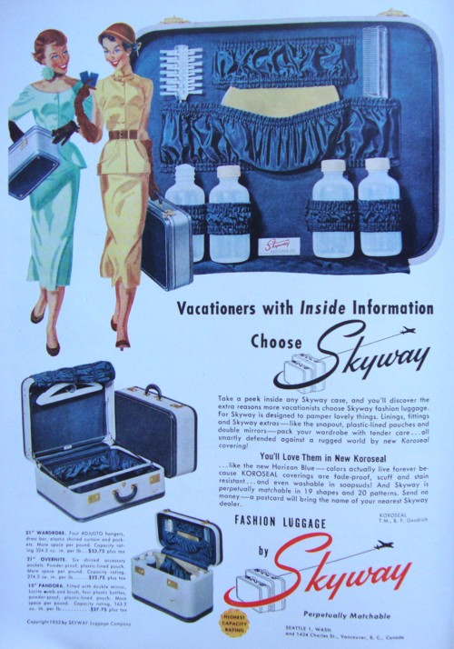 Ad Campaign: Skyway Fashion Luggage, 1952 | The Vintage Traveler